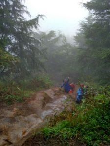 Jalur pendakian Prau ketika hujan